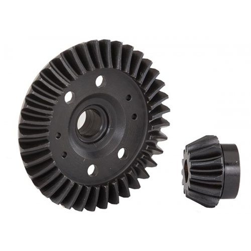 Ring gear, differential/ pinion gear, differential (machined, spiral cut) (rear)